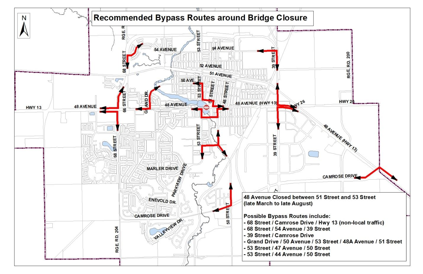 Map of Recommended Bypass Routes around Bridge Closure