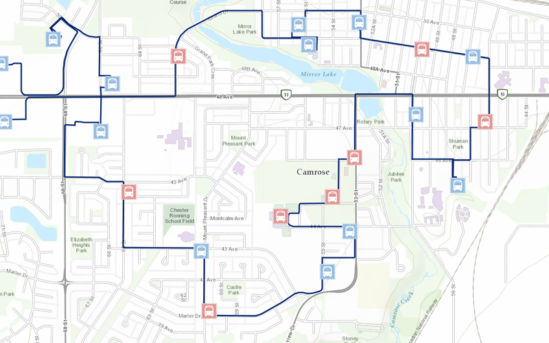 Camrose Community Bus Schedule and Map
